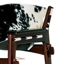 contemporary armchair leather wooden cowhide