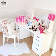 home accessory make up table makeup table desk mirror y pink white