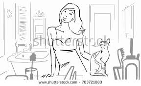 simple bathroom drawing. Unique Drawing Young Woman In A Bathroom And Cat Black White Vector Sketch Simple Intended Bathroom Drawing M