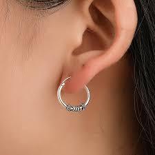 Retro <b>Simple Geometric</b> Earrings for <b>Men</b> Silver Color Fashion ...