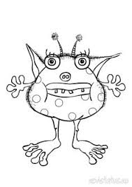 Small Picture vector of cartoon spotted and horned monster outlined coloring