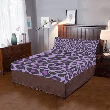 purple leopard print bed set 3 piece