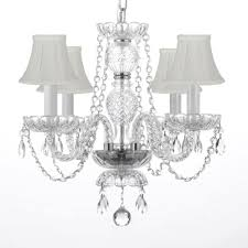 4 light venetian style empress crystal chandelier with white shades