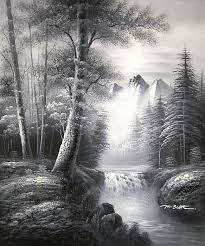 yessy a art original oil paintings black and white landscape painting