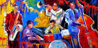 original abstract jazz art painting al instruments five guys named joe by texas artist debra hurd