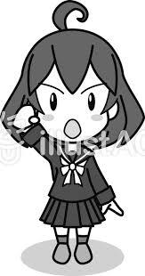 セーラー服の女子ガッツポーズモノクロイラスト No 1015510無料