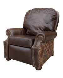 rustic western style recliner with fabric and leather best quality american made recliners