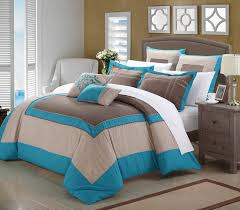 blue and brown bedding for bedroom