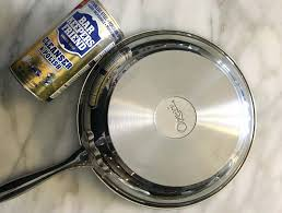 how to clean stainless steel cookware cleaning with baking soda pan burnt  oil exterior