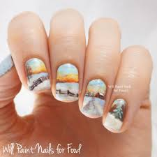 Make up artist paints highly detailed tiny landscapes on nails