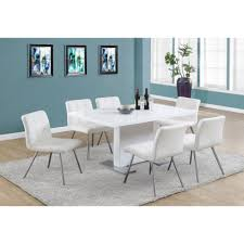 high gloss white 60 dining table w stainless steel feet