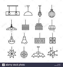 Hängende Lampe Vektor Kronleuchter Vektor Icon Set