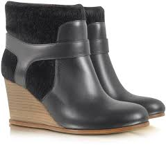 mm6 maison martin margiela black eco fur and leather wedge bootie