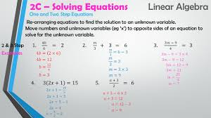 9 2c solving equations linear algebra using the calculator to solve example one example two showing working one and two step equations solve is found