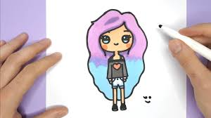 How To Draw A Cute Tumblr Girl Easy Drawing Tutorial Happy Drawings