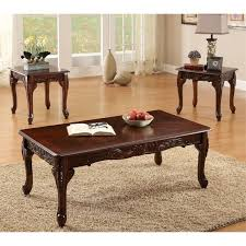 furniture of america alice 3 piece coffee table set in dark cherry