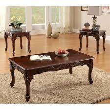 furniture of america alice 3 piece coffee table set in dark cherry