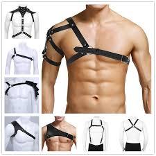 details zu mens leather chest harness restrain belt shoulder strap dress fancy costume
