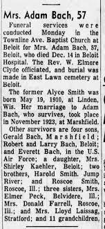 Bach, Mrs Adam (Alyce Smith) Obituary - Newspapers.com