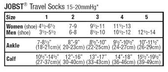 Jobst Travel Socks Size Chart Jobst Travel Sock 15 20 Mmhg Knee High Support