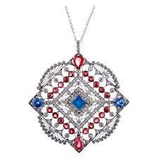 large edwardian ruby sapphire diamond gold pendant for