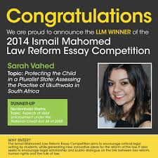 winners of the ismail mahomed law reform essay competition winners of the 2014 ismail mahomed law reform essay competition