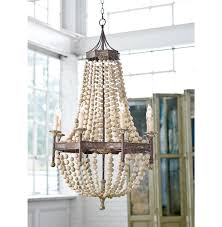 wood and metal chandelier. Maroma Coastal Beach Scalloped Wood Bead Metal Chandelier And I