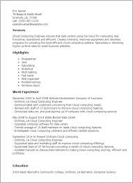 Resume Templates: Cloud Computing Engineer