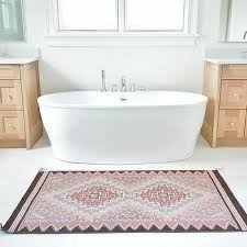 pink and brown vintage bath rug