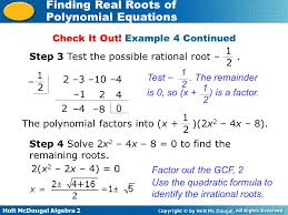 holt mcdougal algebra 2 finding real roots of polynomial equations check it out