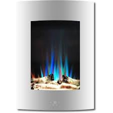 vertical electric fireplace in white with multi color flame and driftwood