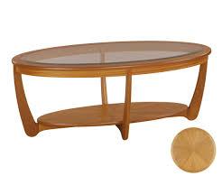 nathan shades teak 5834 glass top oval coffee table coffee