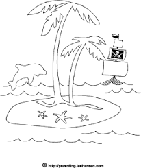 Small Picture Pirate Treasure Island Coloring Page