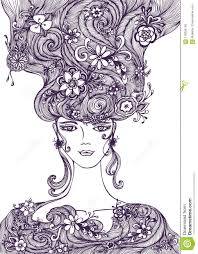 How To Draw Girl Shirts Beautiful Hand Draw Girl With Flowers Hair Black On White Stock