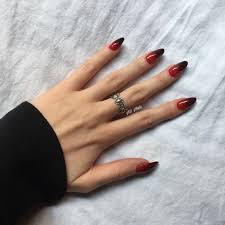 Fashion Ombre Nails Red To Black Almond Shaped Almondshapednails