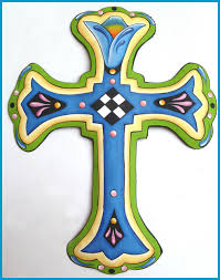 cross wall hanging painted metal wall decor gift 18