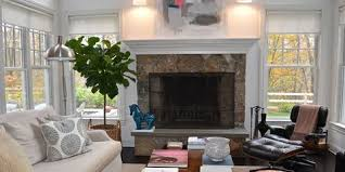 furniture and living rooms. Living Room With Leather Furniture And Large Fireplace Rooms
