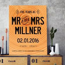 wood anniversary personalised year wedding print with your name and date dreaded gifts for him gift