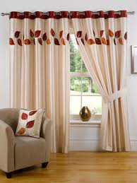 Most Favorite Bedroom Curtains And Drapes : Beautiful Glass Window  Decoration With Beige Curtain And Brown