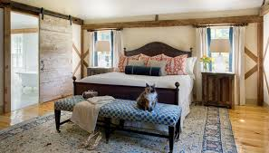 White washed barn door for bedroom