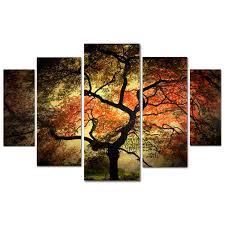 Wall Art Panels Autumn Seaseon Multiple Panel Beautiful Red Leaves Tree  Paintings Amazing Black Silhouette