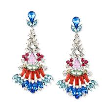 inc silver tone multi colored faceted stone chandelier earrings