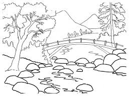 Summer Landscape Coloring Pages With Free Printable Nature Coloring