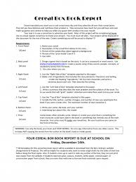 Download Our Sample Of 11 Cereal Box Book Report Template - Make It ...