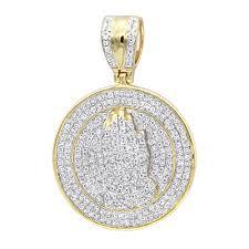 hip hop jewelry praying hands diamond pendant for men 14k gold medallion ye