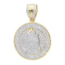 hip hop jewelry praying hands diamond pendant for men 14k gold medallion