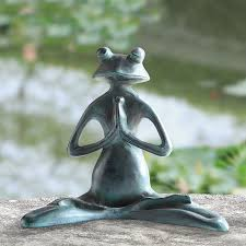 meditating yoga frog garden sculpture
