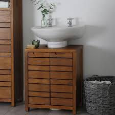 dark wood bathroom under sink