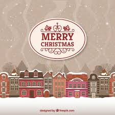 Merry christmas and happy new year with realistic balls. Free Vector Merry Christmas Card With Urban Landscape