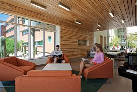 wood ceiling lighting. Lounge Reading And Study Areas Have Special With Wood Walls Ceilings To Create A Respite From The Stress Of Study. Linear T5 Lighting Ceiling E